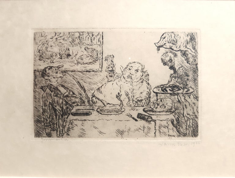 Gluttony (La Gourmandise) is an original etching on the Japanese paper, realized by James Ensor in 1904, signed and dated with the second signature and title on the reverse, 2nd state on 2.  In good conditions, it was part of the album dedicated to