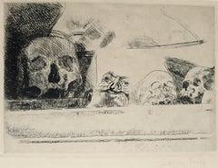 Skulls and Masks - Original Etching by James Ensor - 1888