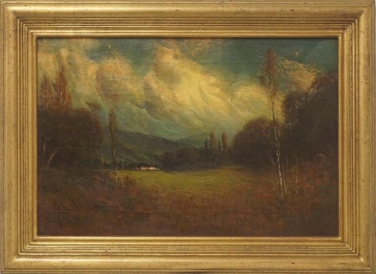"""Stunning plein air California landscape of Natividad (part of unincorporated Monterey Country) in late afternoon by James Everett Stuart (American, 1852-1941), 1917. Signed, dated and numbered (2386) lower left corner. Signed """"J.E. Stuart 1917"""","""