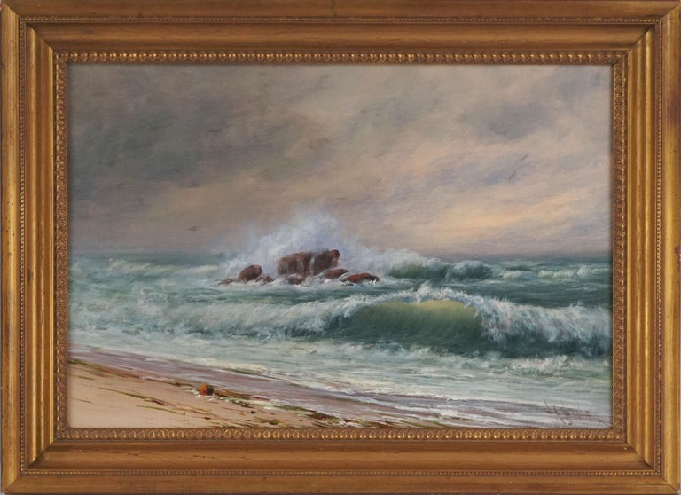 Stunning plein air Northern California seascape by James Everett Stuart (American, 1852-1941), 1895. Signed, dated lower right corner.  Condition: Very Good: previous professional restoration with relining on canvas and inpainting for minor