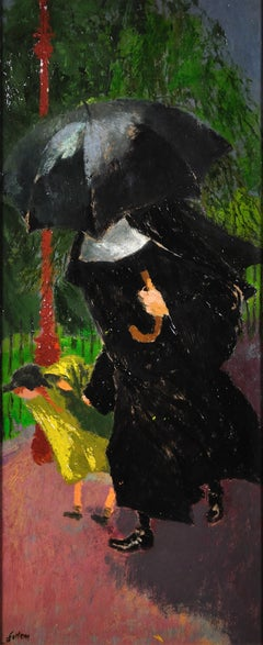 Nun and schoolgirl in the rain.James Fitton.Original Oil Painting.Modern British
