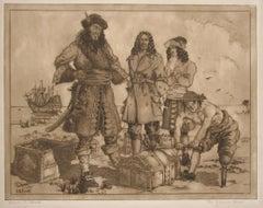 The Treasure Chest, aquatint of pirates by James Flett, circa 1925