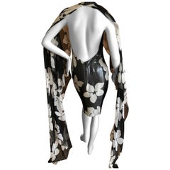 James Galanos 1980's Metallic Floral Backless Mini Dress w Twin Trailing Capes
