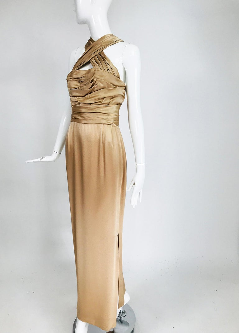James Galanos Champagne Gold Silk Satin Evening Gown For Sale 5