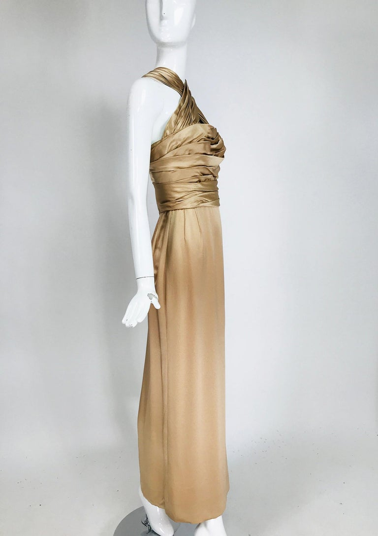 Brown James Galanos Champagne Gold Silk Satin Evening Gown For Sale