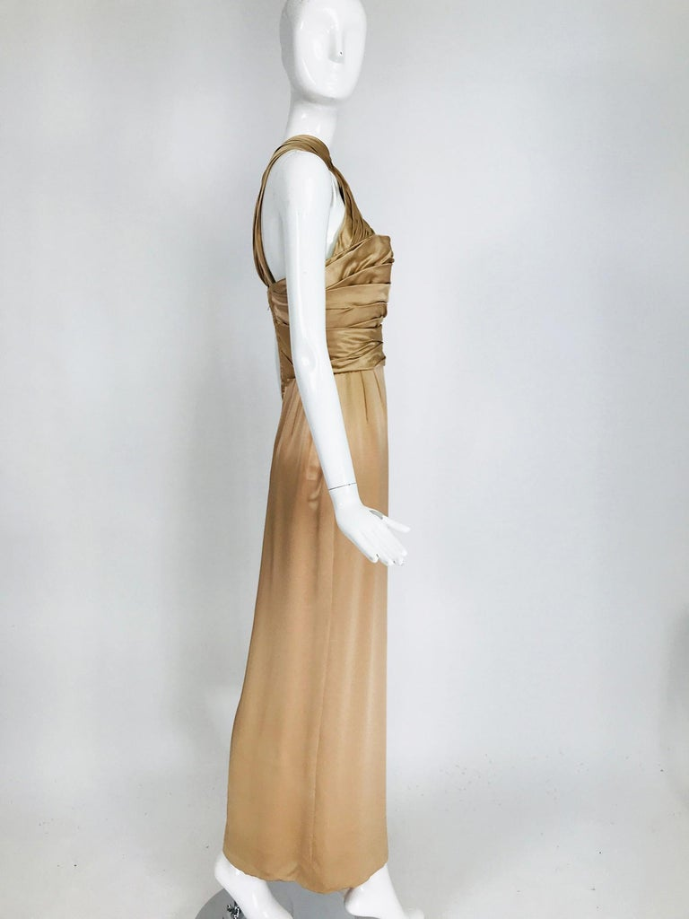 James Galanos Champagne Gold Silk Satin Evening Gown In Good Condition For Sale In West Palm Beach, FL