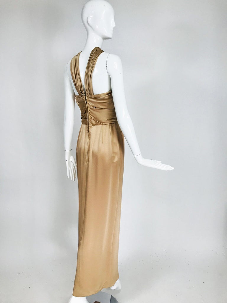 Women's James Galanos Champagne Gold Silk Satin Evening Gown For Sale