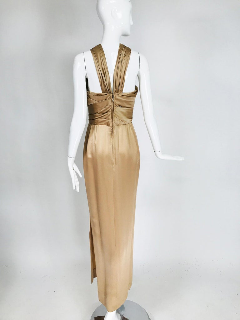 James Galanos Champagne Gold Silk Satin Evening Gown For Sale 1