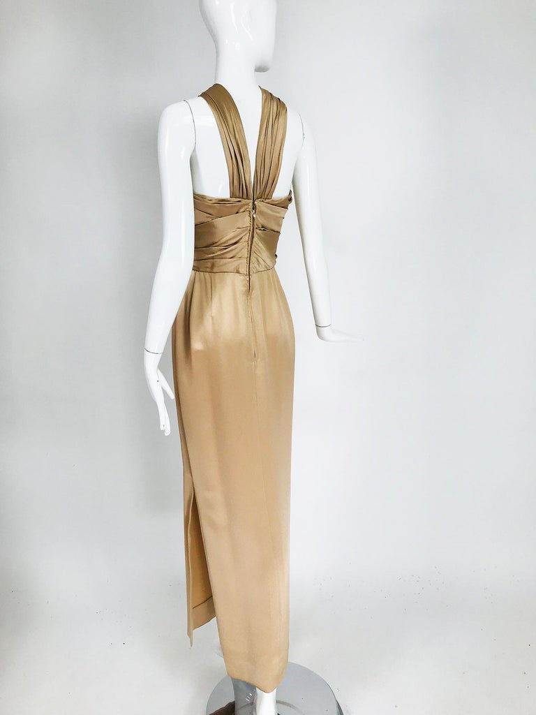 James Galanos Champagne Gold Silk Satin Evening Gown For Sale 2