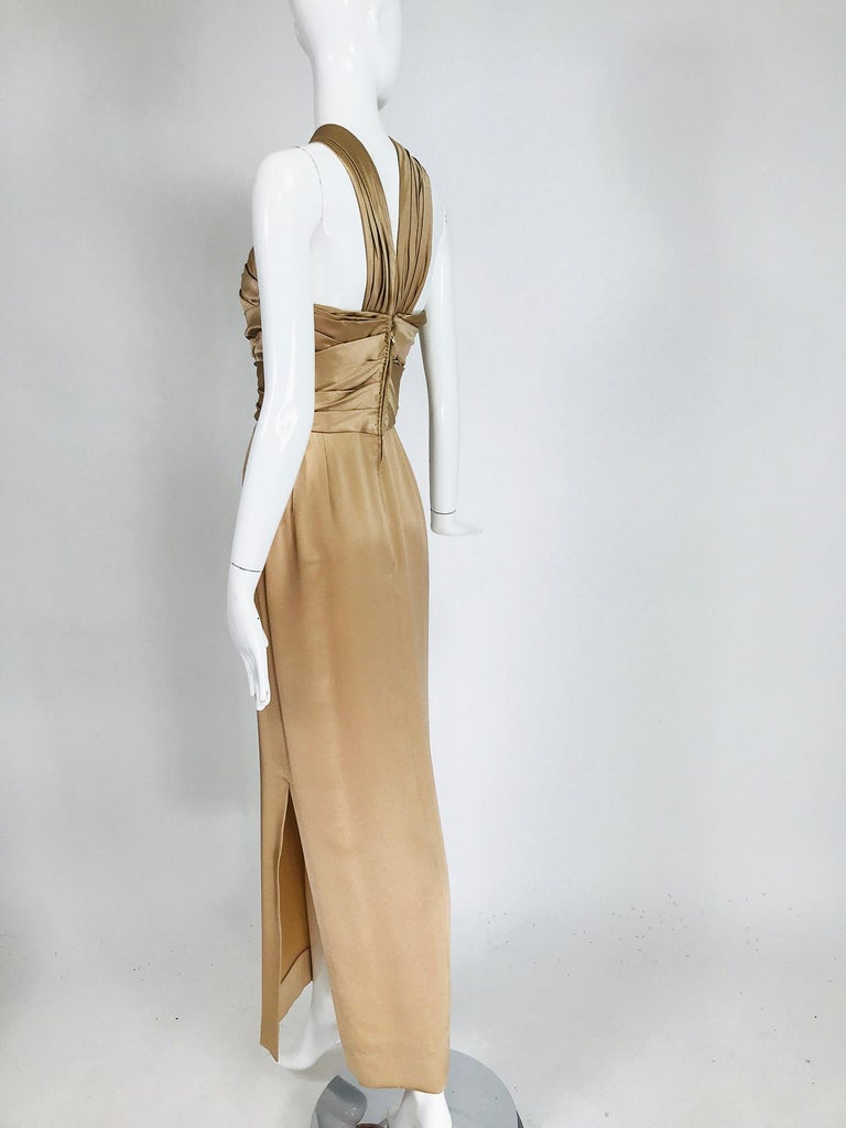 James Galanos Champagne Gold Silk Satin Evening Gown For Sale 3