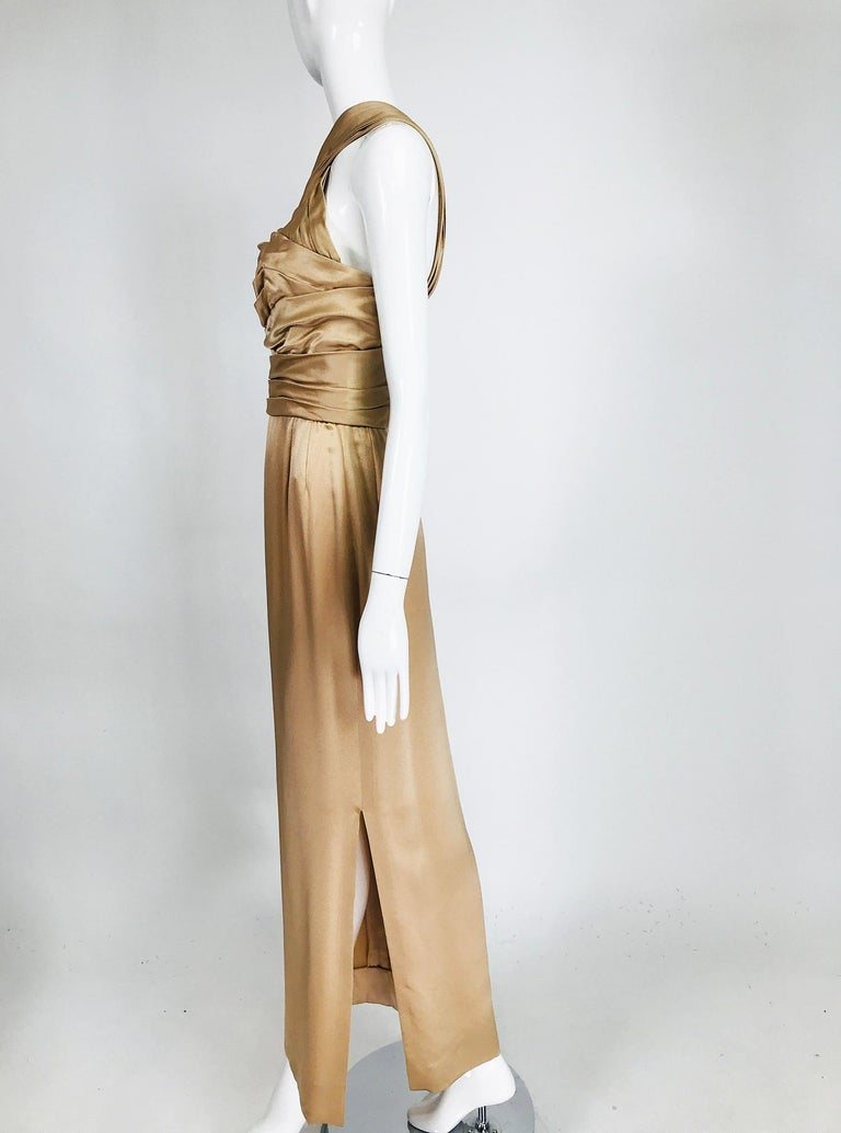 James Galanos Champagne Gold Silk Satin Evening Gown For Sale 4