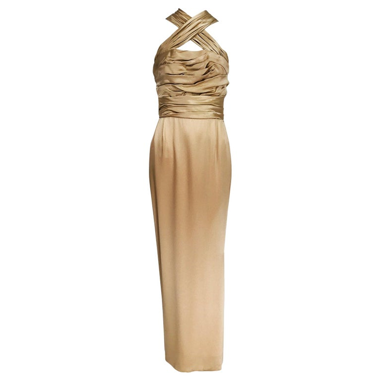 James Galanos Champagne Gold Silk Satin Evening Gown For Sale