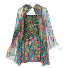 James Galanos Couture Beaded Floral Silk Mini Dress with Hooded Opera Coat, 1970