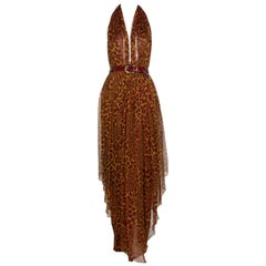 James Galanos Couture Chiffon Cheetah Print Open Back Halter Dress, 1980s