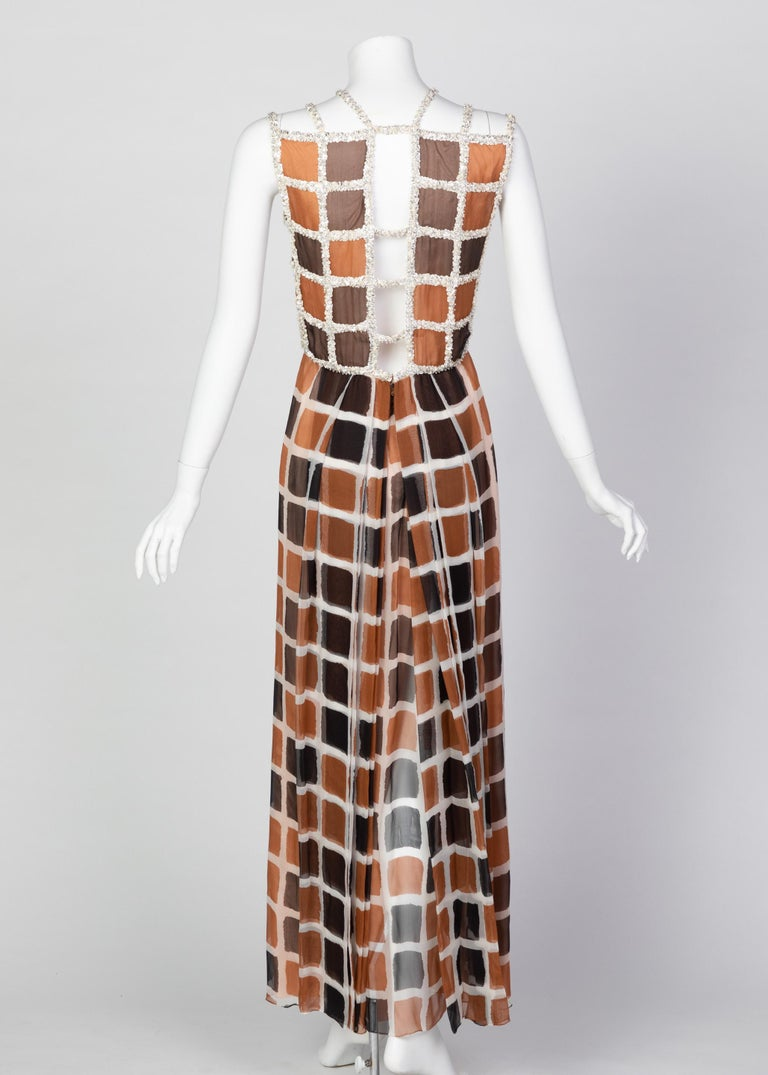 James Galanos Couture Chiffon Dress with Sequins Lattice Straps, 1980s For Sale 5