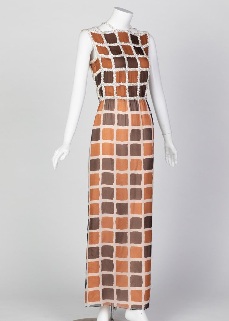 Brown James Galanos Couture Chiffon Dress with Sequins Lattice Straps, 1980s For Sale