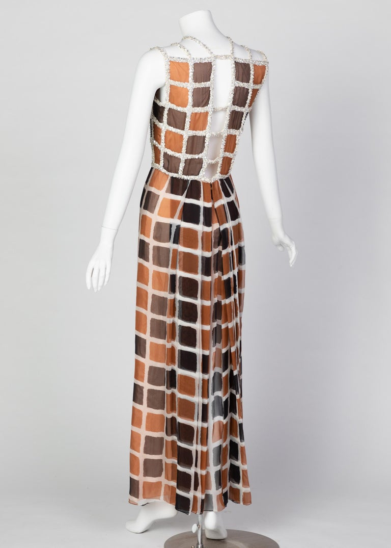 James Galanos Couture Chiffon Dress with Sequins Lattice Straps, 1980s In Excellent Condition For Sale In Boca Raton, FL