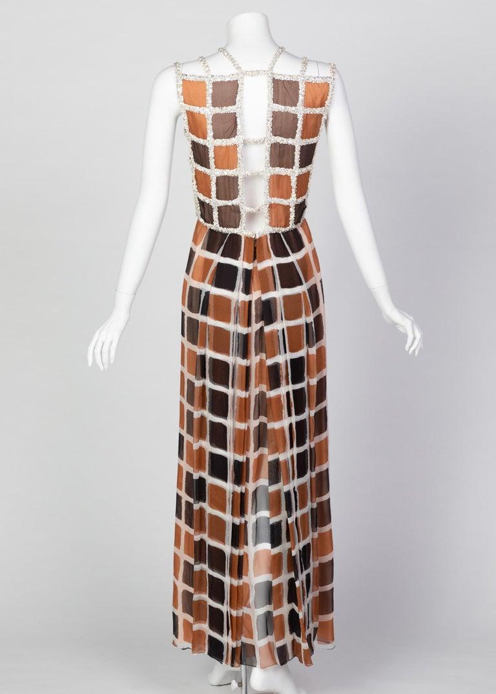 Women's James Galanos Couture Chiffon Dress with Sequins Lattice Straps, 1980s For Sale