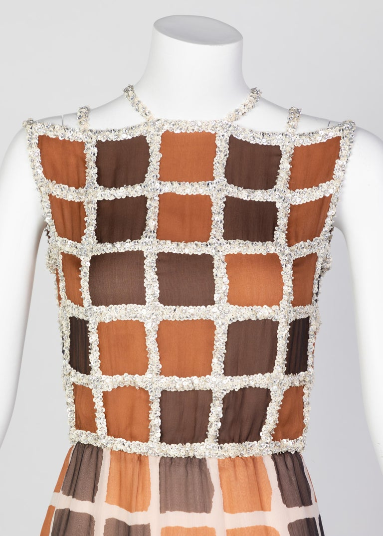 James Galanos Couture Chiffon Dress with Sequins Lattice Straps, 1980s For Sale 1
