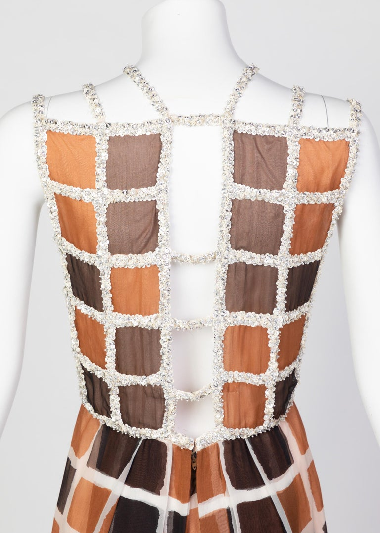 James Galanos Couture Chiffon Dress with Sequins Lattice Straps, 1980s For Sale 3