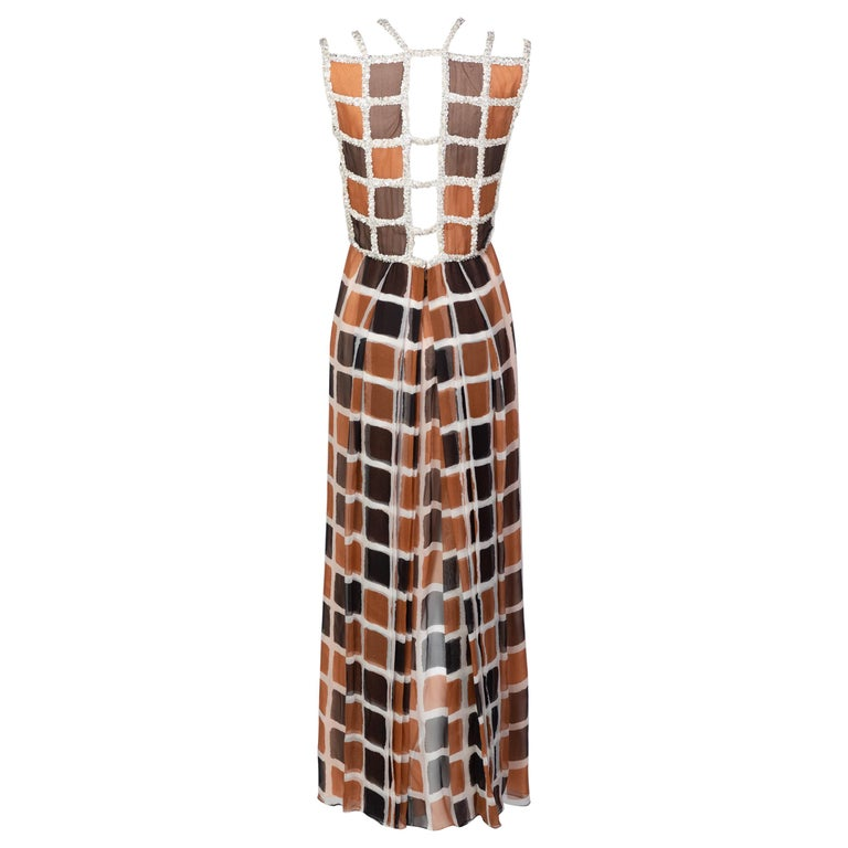James Galanos Couture Chiffon Dress with Sequins Lattice Straps, 1980s For Sale
