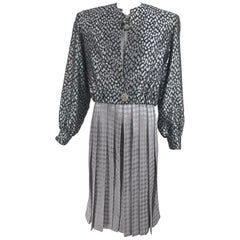 James Galanos Couture  Pleated Print Dress and Jacket 1980s