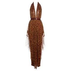 James Galanos leopard print silk chiffon couture halter evening dress, c. 1970