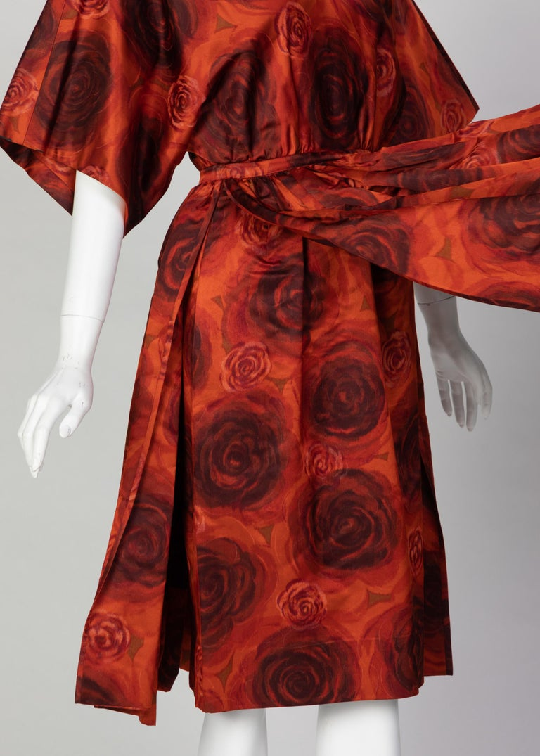 James Galanos Orange Purple Copper Floral Silk Party Dress, 1960s In Excellent Condition For Sale In Boca Raton, FL