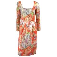 James Galanos Silk Metallic Floral Dress, 1960s Vintage