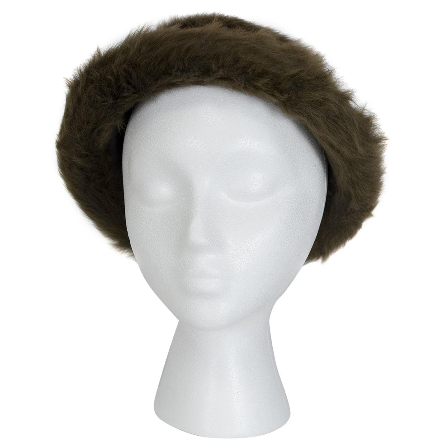 "James Galanos Soft Brown Toscana Shearling Fur Bowler Bucket Hat - 21"", 1980s"