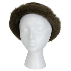 "James Galanos Soft Brown Toscana Shearling Fur Bowler Bucket Hat - 21"", 1980s"