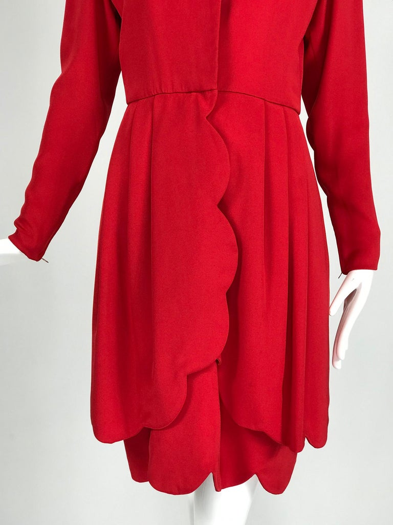 James Galanos Vintage Candy Apple Red Silk Scallop Edge Dress 1980s For Sale 6