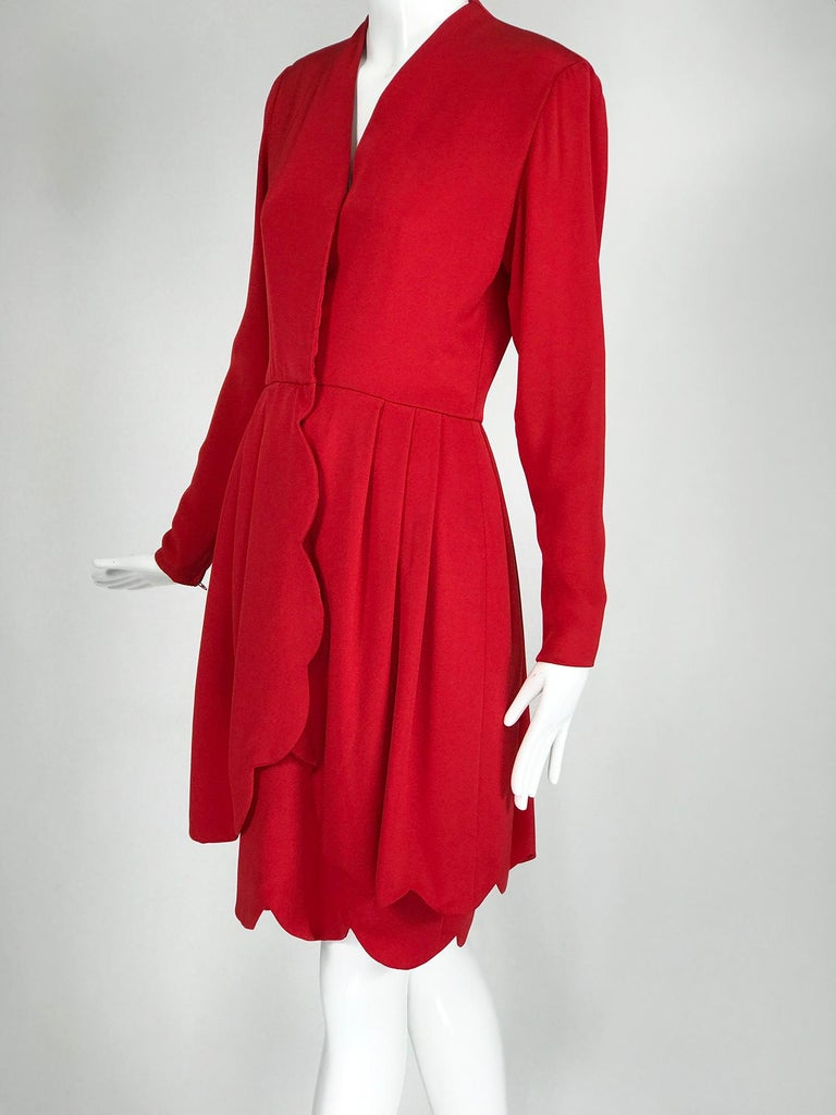 James Galanos vintage candy apple red silk scallop edge layered hem dress from  the 1980s. This very gorgeous demi couture dress is as beautifully made inside as out, that was the thing about Galanos he was a fabric artist and his clothes are minor