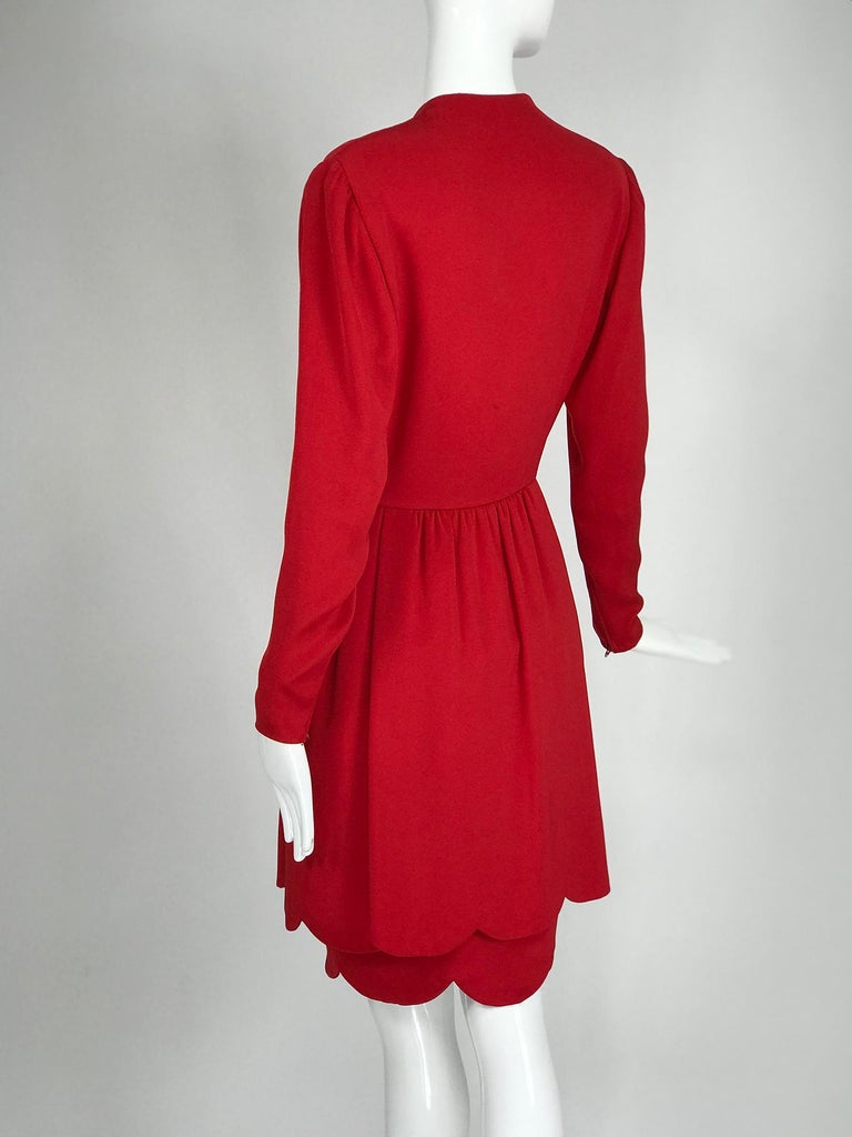Women's James Galanos Vintage Candy Apple Red Silk Scallop Edge Dress 1980s For Sale