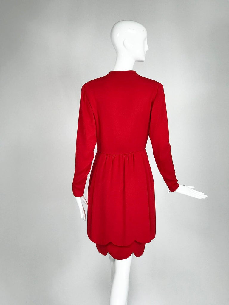 James Galanos Vintage Candy Apple Red Silk Scallop Edge Dress 1980s For Sale 1