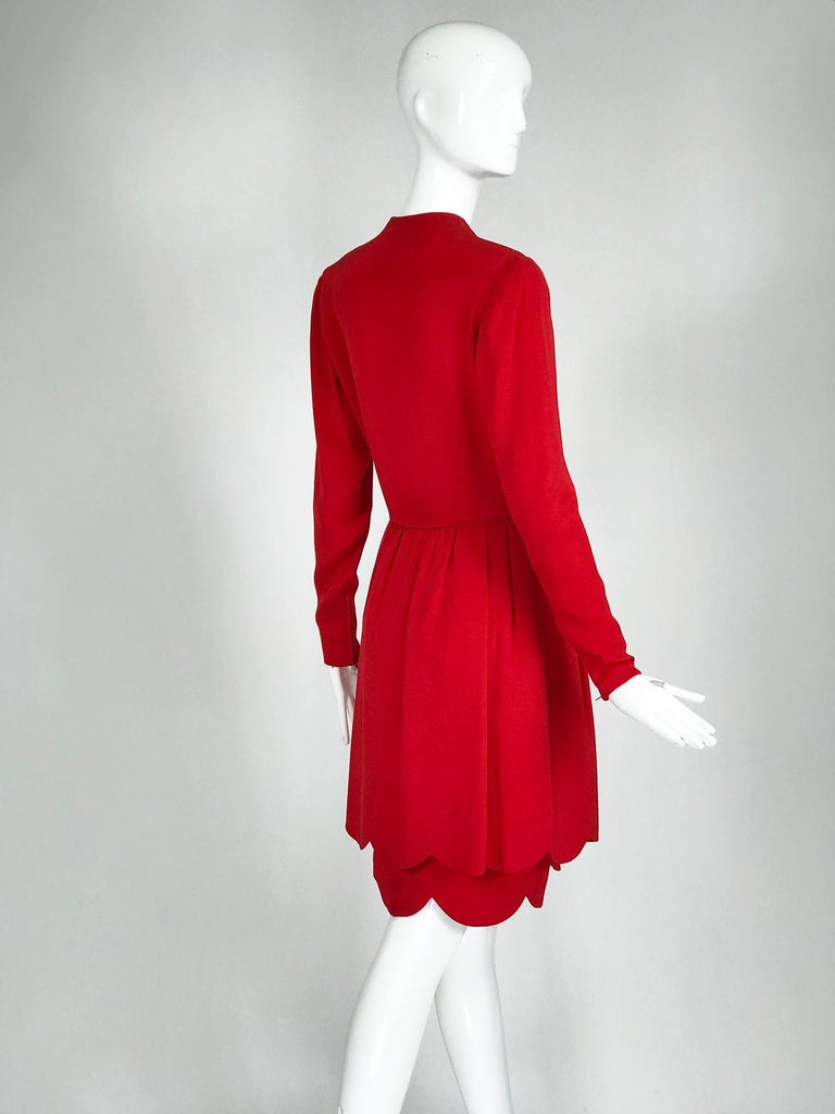 James Galanos Vintage Candy Apple Red Silk Scallop Edge Dress 1980s For Sale 2