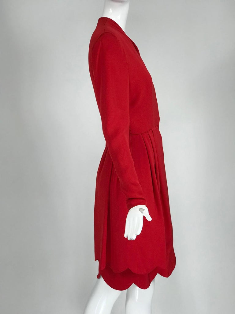 James Galanos Vintage Candy Apple Red Silk Scallop Edge Dress 1980s For Sale 3