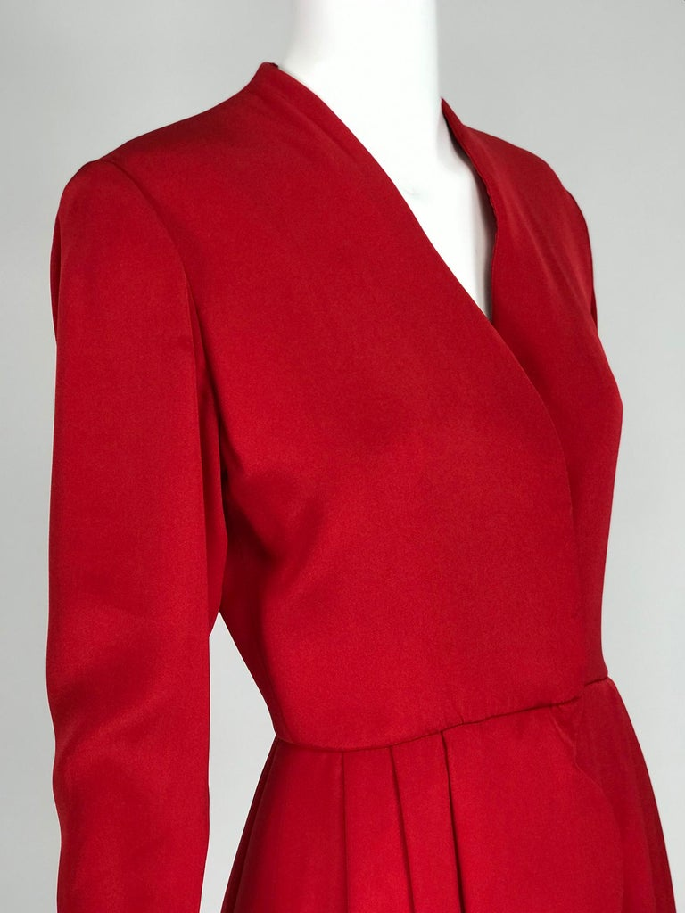 James Galanos Vintage Candy Apple Red Silk Scallop Edge Dress 1980s For Sale 4