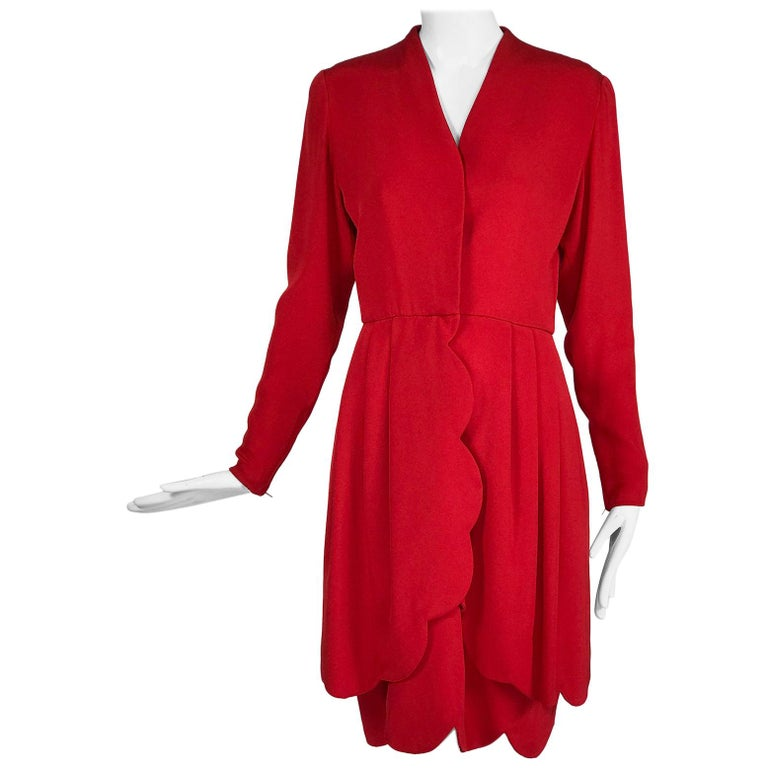 James Galanos Vintage Candy Apple Red Silk Scallop Edge Dress 1980s For Sale