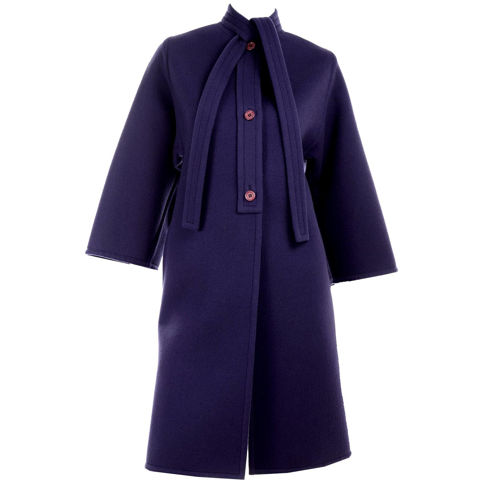 James Galanos Vintage Rich Purple Wool Coat with Tie & Pockets
