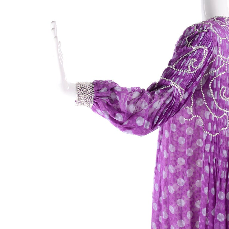 James Galanos Silk Purple Polka Dot Vintage Dress w Silver Sequins & Slip For Sale 10