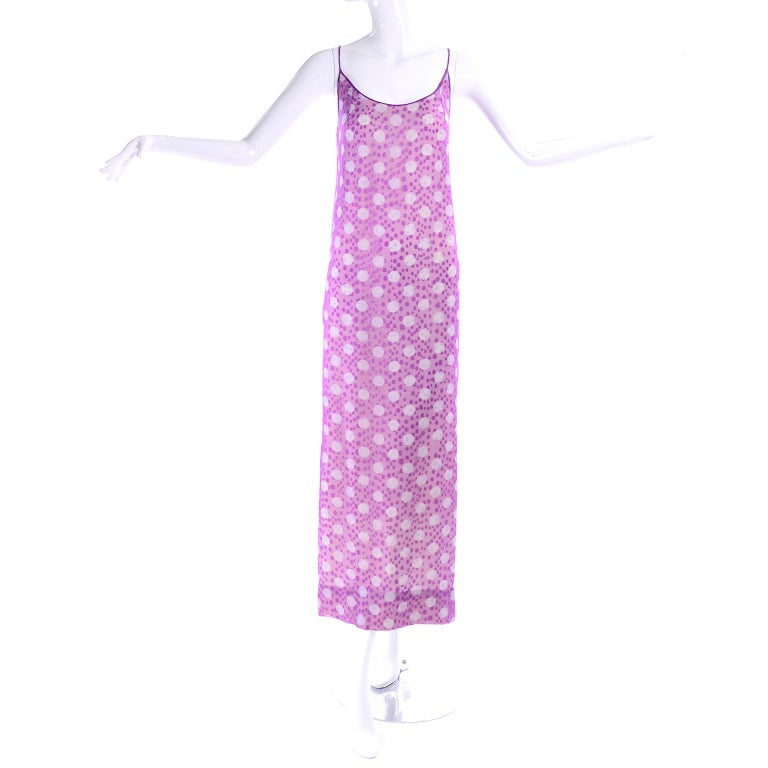 James Galanos Silk Purple Polka Dot Vintage Dress w Silver Sequins & Slip For Sale 11