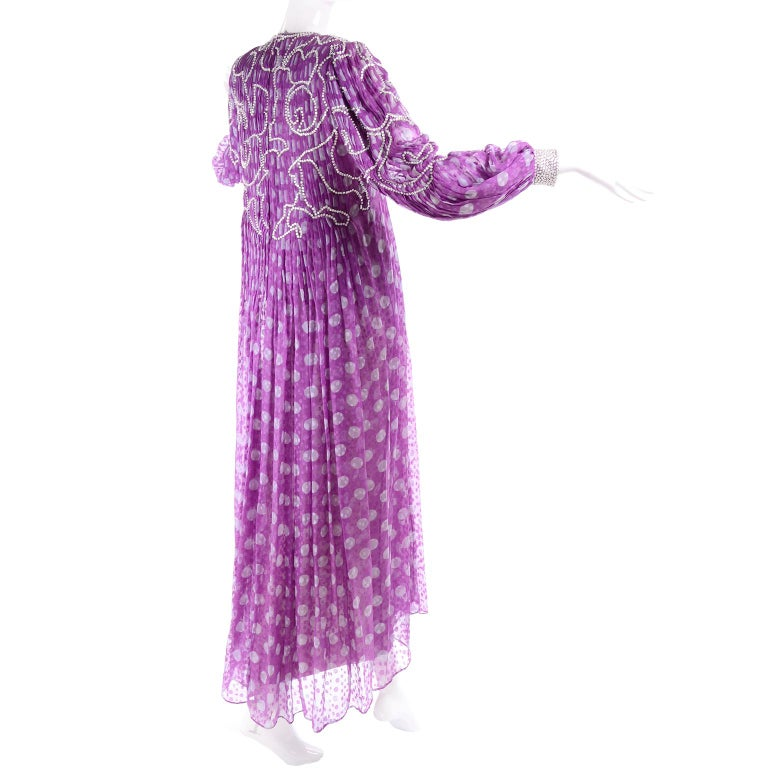 James Galanos Silk Purple Polka Dot Vintage Dress w Silver Sequins & Slip For Sale 1