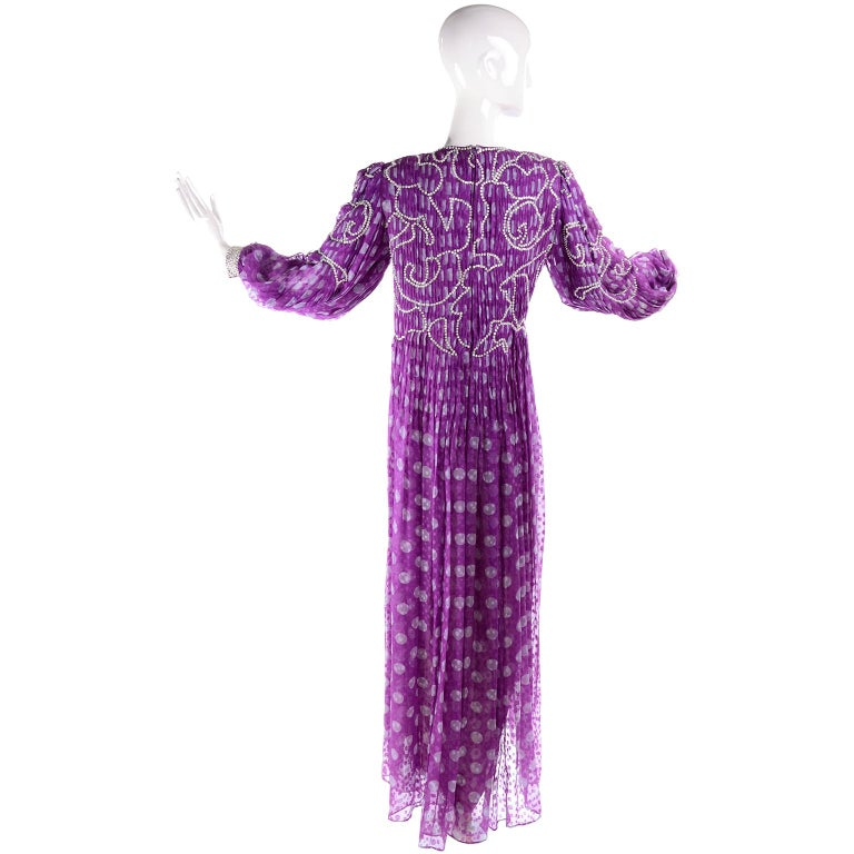 James Galanos Silk Purple Polka Dot Vintage Dress w Silver Sequins & Slip For Sale 3