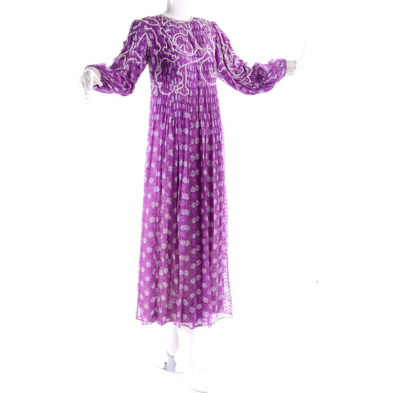 James Galanos Silk Purple Polka Dot Vintage Dress w Silver Sequins & Slip For Sale 4