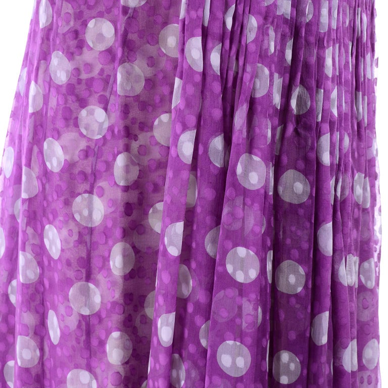 James Galanos Silk Purple Polka Dot Vintage Dress w Silver Sequins & Slip For Sale 5