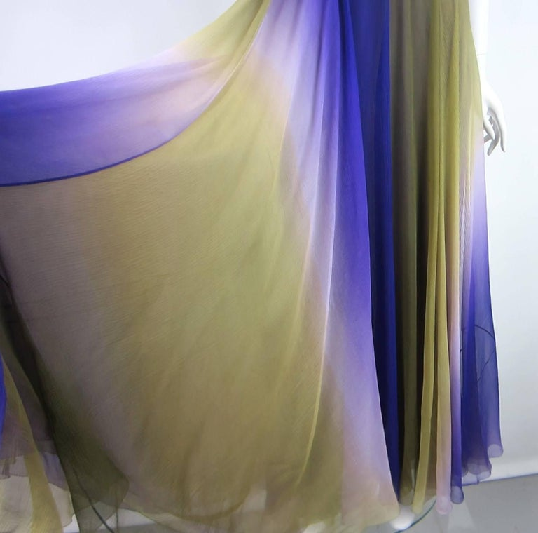 Gray James Galanos Watercolor Chiffon Goddess gown 1970s  For Sale