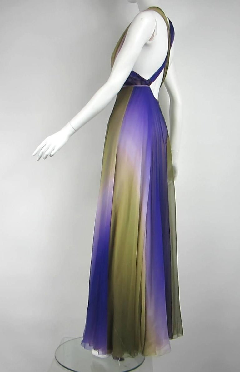 James Galanos Watercolor Chiffon Goddess gown 1970s  In Good Condition For Sale In Wallkill, NY