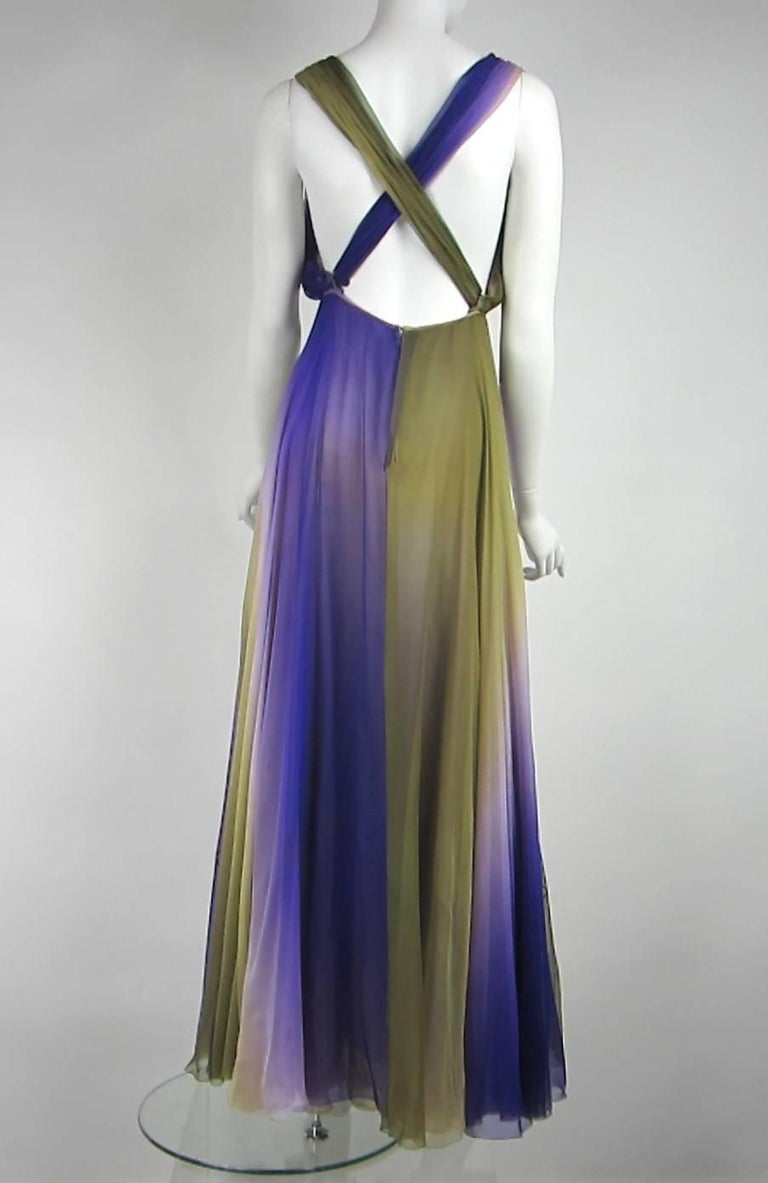 Women's James Galanos Watercolor Chiffon Goddess gown 1970s  For Sale