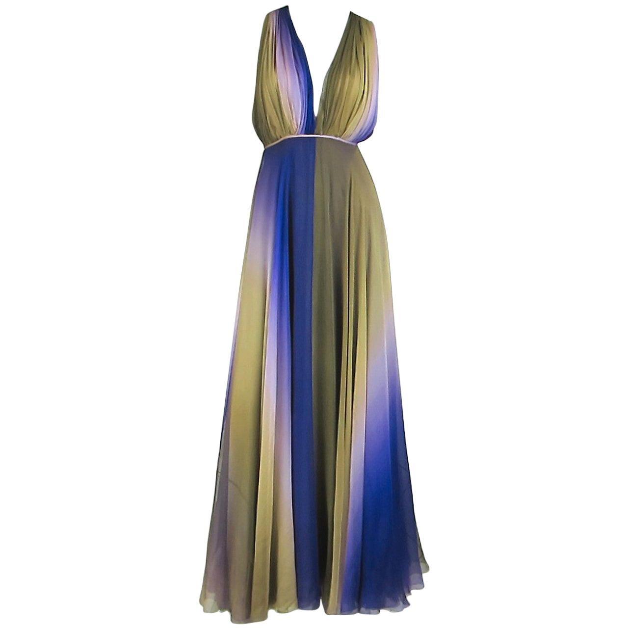 James Galanos Watercolor Chiffon Goddess gown 1970s